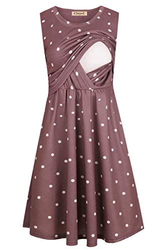 CzzzyL Nursing Outfits for Breastfeeding, Womens Casual Cotton Sleeveless Dot Print Breastfeeding Friendly Dress for Baby Shower Comfy Easy Fit Pleats Oversize Maternity(Purple,X-Large)