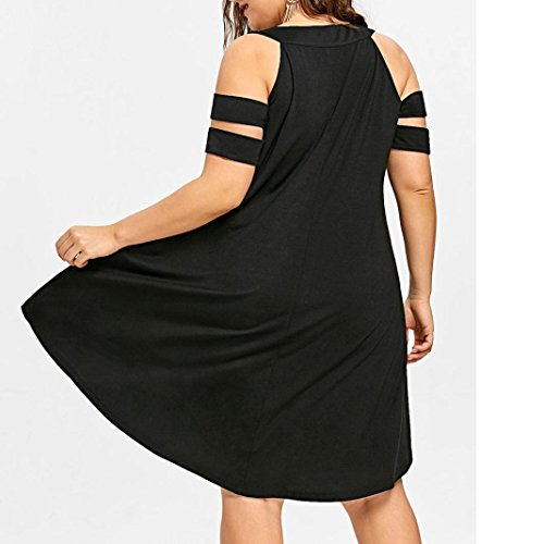 La Taille VJGOAL DContractE Froide Paule Robe O Womens Noir sur Mode Creux Poitrine Cou Taille Sexy Bretelles Solide 46~54 Noir T La Plus fxaRfqwrC