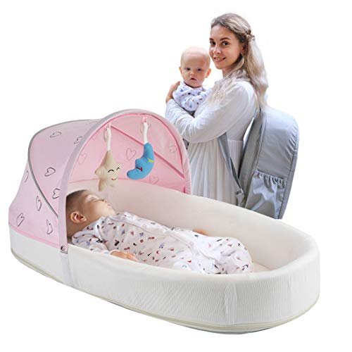 MTWML Portable Bassinets for Baby, Travel Baby Bed Soft Comfortable Carry Bassinet with Mosquito Net and Toys, Infant Crib Baby Lounger Nest for 0-8 Months Newborn Boy Girl Babies