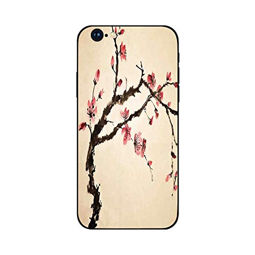 Phone Case Compatible with iphone6 Plus iphone6s Plus mobile phone protecting shell Brandnew Tempered Glass Backplane,Japanese,Traditional Chinese Paint of Figural Tree with Details Brushstroke Effect