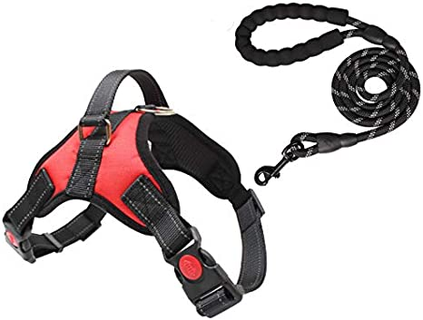 Great for Small TrainPro No-Pull Dog Collar Harness and Leash Training Set for Easy Control! Fully Adjustable with Comfort Padding! Medium Large Dogs! Kinder to your Pet than Standard Collars!
