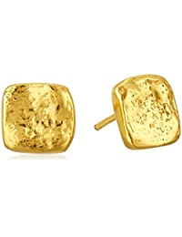 Argento Vivo Gold Hammered Square Stud Earrings