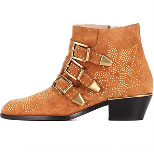 Comfity Boots for Women,Women's Leather Boot Rivets Studded Shoes Metal Buckle Low Heels Ankle Studded Booties