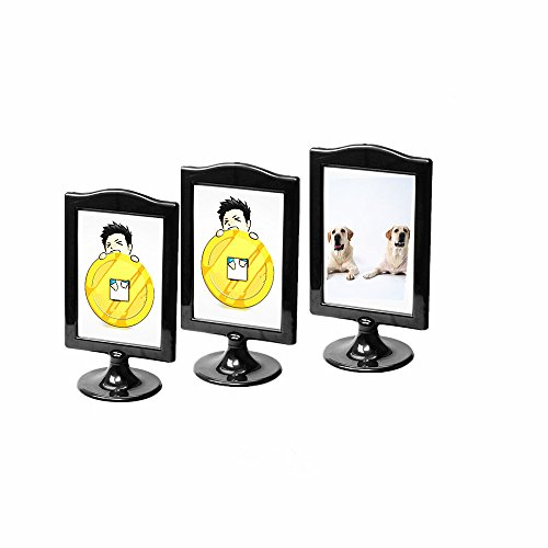 Leoyoubei Pack of 3 Black Photo Frames menu Box Double Display 2 Photos 4x6,Vertical Stand Specimen Framework,Price tag, Culture Card,Postcards,Tickets Display