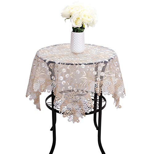 Embroidered Square Tablecloth - Newisher Lace Tablecloth Gold White Floral Embroidered Translucent Gauze Table Cover for Party Wedding Square 33 x 33 Inch