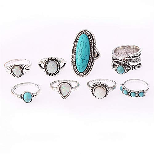 JczR.Y 8 Pcs/Set Vintage Oval Opal Rings for Women Bohemian Natural Turquoise Stone Open Leaf Finger Rings for Women (Ring Oval Long)