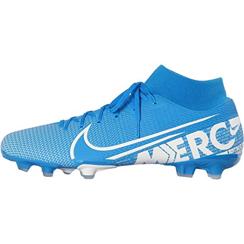 Nike Mercurial Superfly 7 Academy FG Soccer Cleats (M10.5/W12, Blue/White-M)