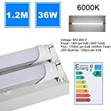 36W 6000K Shop Lamp Durable Garage Grill Light Fixture With 2 PCS T8 Tube Lights 1.2M Super Bright Warehouse Light