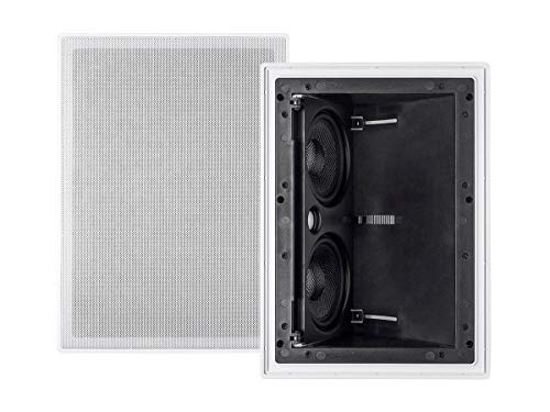Monoprice 2-way Carbon Fiber In-Wall Surround Speaker - Dual 5.25 Inch (Single) Vari-Angled With Paintable Grille - Alpha Series