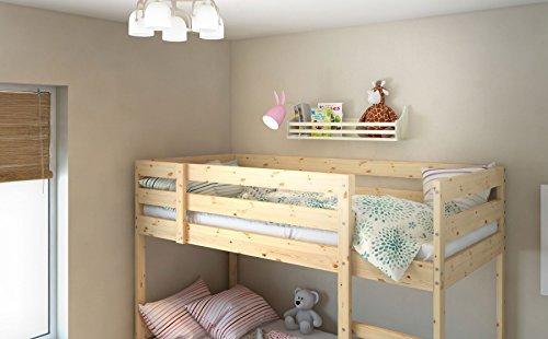 Wooden Bunk Bed Shelf Bookcase and Bedside Storage for Children's Kids Room (Natural Wood)