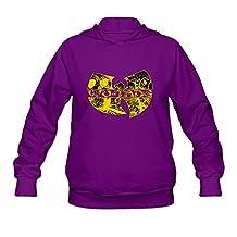 Women's Wu Tang Clan Long Sleeve Hooded Sweatshirt Purple Size XXL Retro By Xuruw
