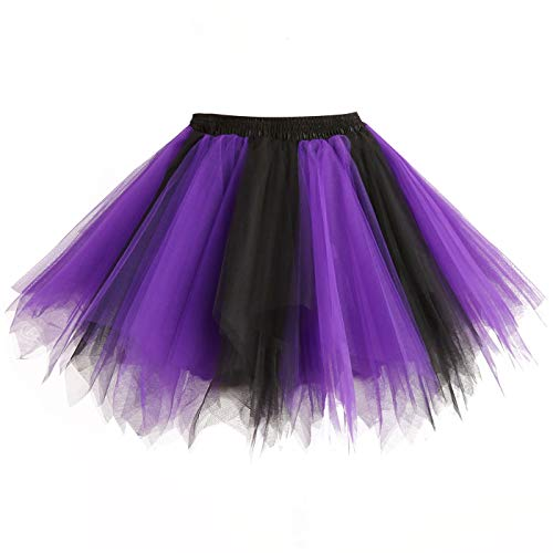 Girstunm Women's 1950s Vintage Petticoats Bubble Tutu Dance Half Slip Skirt Black-Purple-L/XL