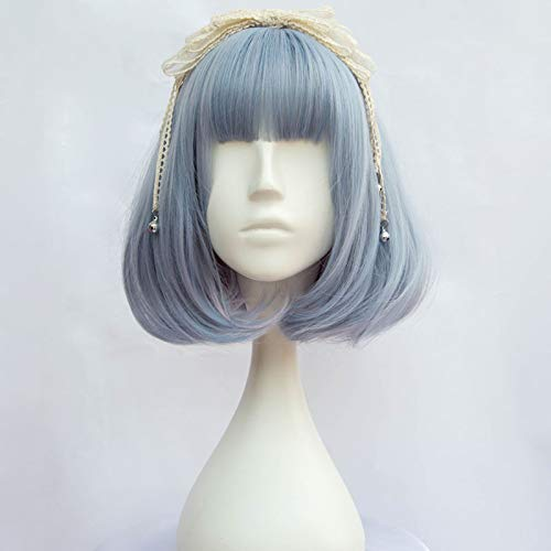 (30Cm Short Wavy Gray Blue Halloween Cosplay Wig Heat Resistant With)