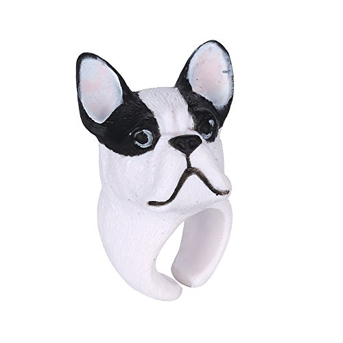 Winter's Secret White Dog Lovely Three-dimensional Small Animal Ring Middle Thumb Finger Jewelry