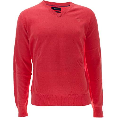 Para watermelon Rojo neck Cotton 699 Red Melange Weight Gant Hombre Jersey Lt V xRYYw4q