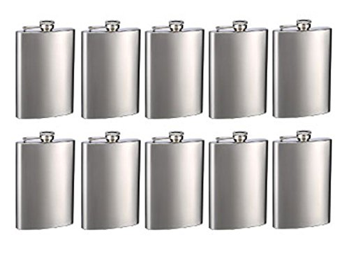 Top Shelf Flasks Brand Engraved 8oz Hip Flasks - Personalized, Pack of 10