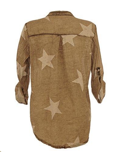 Welcome Fashion - Camisas - Túnica - cuello mao - para mujer marrón