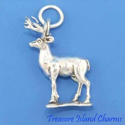 Deer with Antlers Stag 3D .925 Solid Sterling Silver Charm DIY Jewelry Making Supply for Charm Pendant Bracelet by Charm Crazy]()