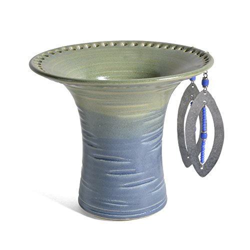 Barb Lund Pottery Earring Holder, Lime Green/Slate Blue from Barb Lund