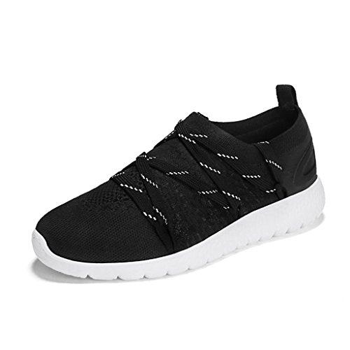 Couleur Chaussures Printemps Chaussures Femmes femme Femme Sport 35 Casual Noir Blanc Course HWF Respirant Plat taille de Étudiant Chaussures Chaussures Maille axvqwn