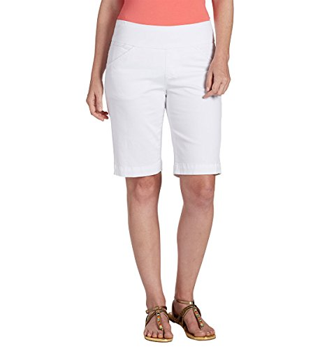 Flat Ladies Twill Front Shorts (Jag Jeans Women's Ainsley Pull on Bermuda Short, White Twill, 10)