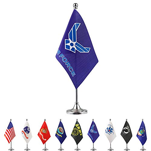 TSMD US Air Force Wings Desk Flag Small Mini United States Military Table Flags with Stand Base,Decorations Supplies for Army Party Events Celebration (Airforce Party Decorations)
