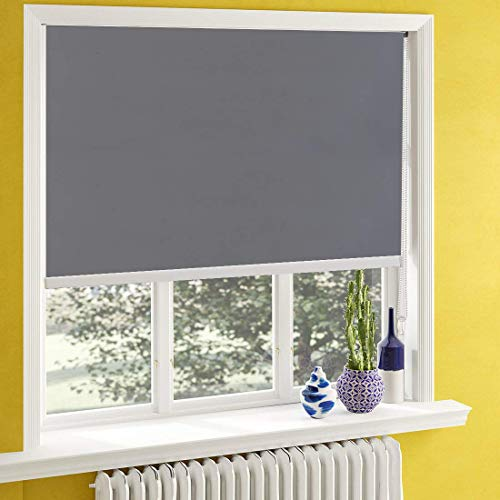 Blackout Window Shades for Bedroom,Room Darkening Blinds Black Out,Window Roller Shades with Back in White to Waterproof,Thermal for Privacy Bathroom and Kitchen[Gray 100% Blackout,W50xH61(Inch)]
