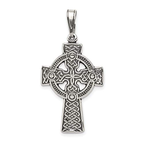 (Mireval Sterling Silver Antiqued Celtic Cross Pendant (approximately 36 x 19)