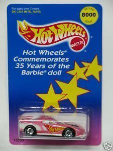 Barbie Hot Wheels - Hot Wheels Commemorates 35 Years of the Barbie Doll with this Limited Edition Second Issue 1993 Chevrolet Camaro Car #13250. Only 8000 Pieces Made. This Chevy is Dated 1994 Mattel, Inc. Made in Malaysia.