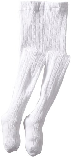 Jefferies Socks Little Girls'  Cable Tight, White, 10-14 Years -