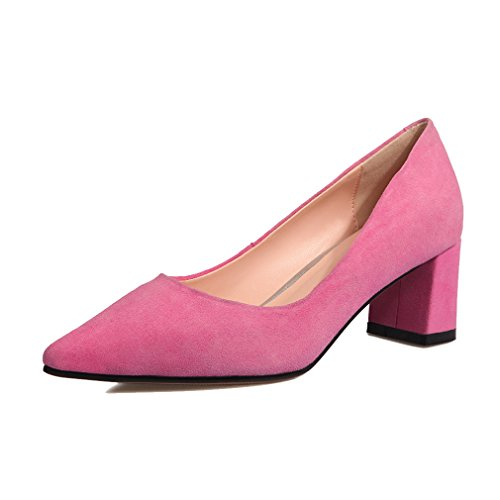 AIYOUMEI Womens Sheep Suede Middle Heel Pointed Toe Block Heel Pumps With Multiple Colour Pink PD9ZM472HC