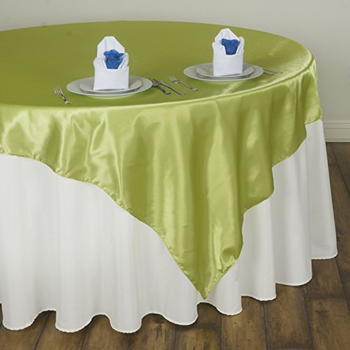 (BalsaCircle 5 pcs 60x60-Inch Apple Green Satin Table Overlays - Wedding Reception Party Catering Table Linens Decorations )