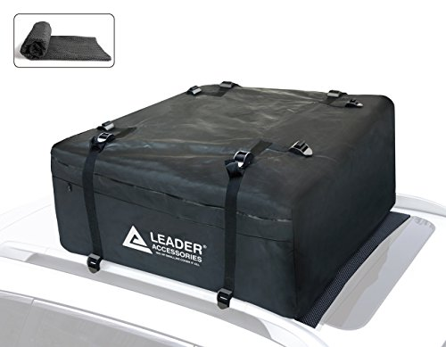 Leader Accessories Car Roof Bag Waterproof Rooftop Carrier Cargo Bag 15 Cubic Feet With Anti-slip Mat Valentine's Day Gift