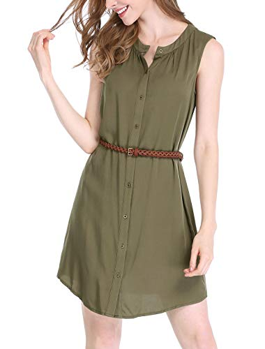 (Allegra K Women's Sleeveless Button Down Crew Neck Above Knee Belted Vintage Shirtdress XL Green)