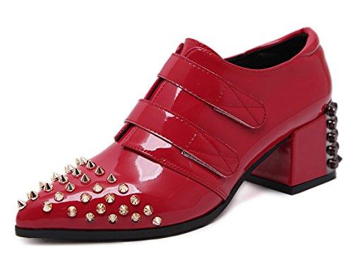 Aisun Kvinna Eleganta Spetsig Tå Dressat Studded Krok Och Ögla Segmentmedel Pumpar Skor Röda