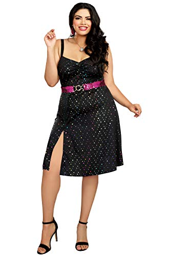 Dreamgirl Women's Disco Diva Plus Size, Black 3X ()