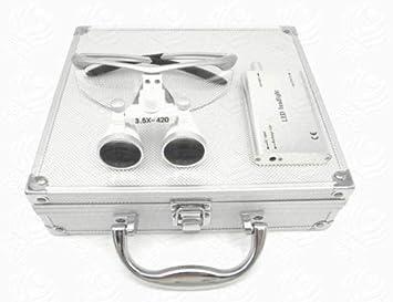 Médico Quirúrgico Dental Gafas Lupas Binoculares Odontologia 3.5×420MM(Plata) con Caja Metal de Athenadental