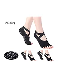 BESIXER Yoga Socks for Women with Grip & Non Slip Toeless Anti-Skid Half Toe Socks for Ballet, Pilates, Barre, Combed Cotton, Pack of 2