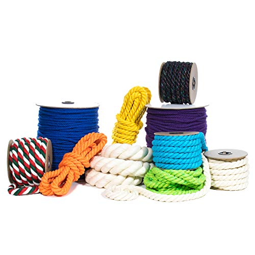 PARACORD PLANET Natural Twisted Cotton Rope (1 Inch, Natural, 25 Feet) - USA Made - Strong Triple-Strand Rope for Pet Toys, Sports, Home Décor, Macramé, Crafts, Indoor and Outdoor Use]()