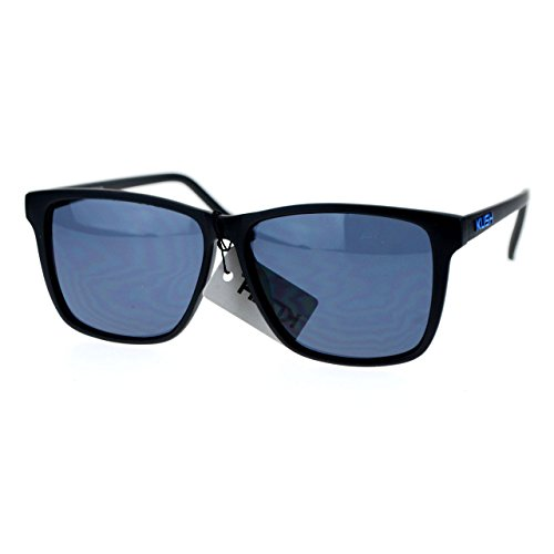 [Kush Mens Matte Black Thin Plastic Frame Sport Sunglasses Blue] (Thin Frame Sunglasses)