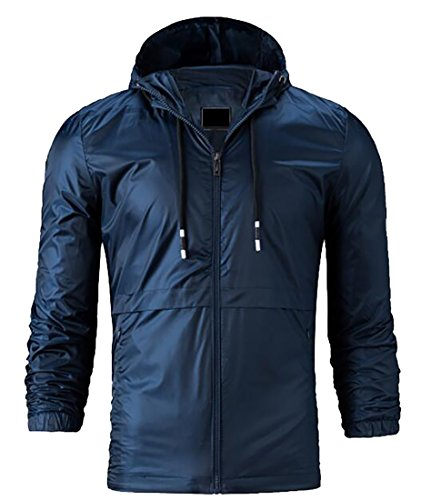 today-UK Men Zippered Hooded Jacket Windbreaker Coat Lightweight Outwear Navy blue