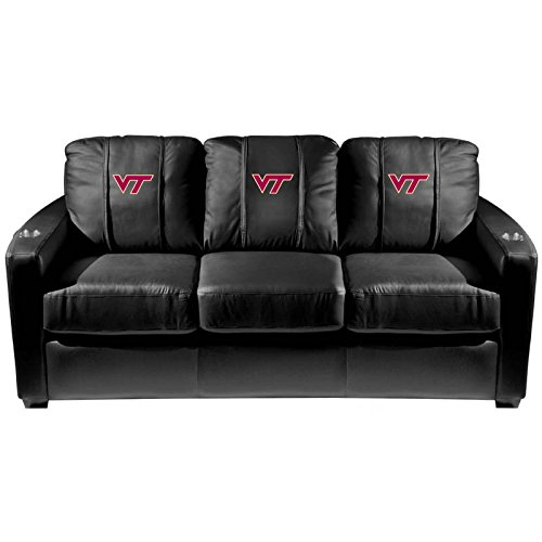 XZipit College Silver Sofa with Virginia Tech Hokies Logo Panel, Black