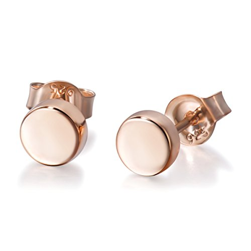 (Meow Star Minimalist Dot Earrings Sterling Silver Disc Earrings Round Ball Stud Earrings (Rose Gold))