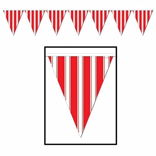 Big Top Striped Pennant Banner Carnival Circus B Day Party Amusement Park