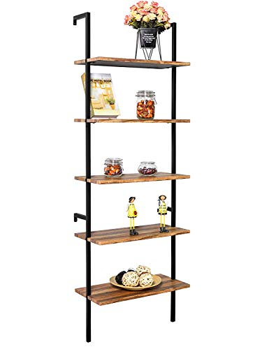 IRONCK Industrial Ladder Shelf Bookcase 5 Tier, Wood Shelves Wall Mounted,Stable, Expand Space Bookshelf, Retro Wall Decor Furniture for Living Room, Kitchen, Bar Storage ()