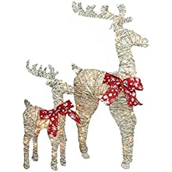 Northlight Set of 2 Sparkling Standing Reindeer Christmas Outdoor Decorations