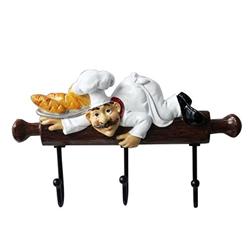 KiaoTime Fat Chef Decor Cute Home Kitchen Restaurant Bakery Decorative Chef with Bread figurine Wall Hooks Oven Gloves/Hat/Cap/Coat/Apron Wall Mount Rack Hook - Decorative Kitchen Plaque
