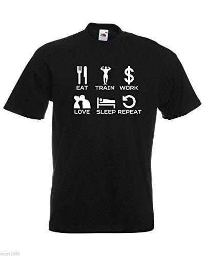 decorato camicia T relativa treno sonno ispirazione nero motivazionale modello testo mangiare citazione lavoro gratuito uomo con per amore ripetizione shirt a7wzaIrU