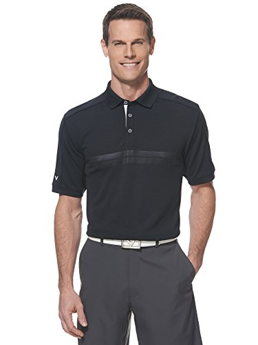 Callaway Men's Golf Short Sleeve Embossed Athletic Polo Shirt, Black, Large ()