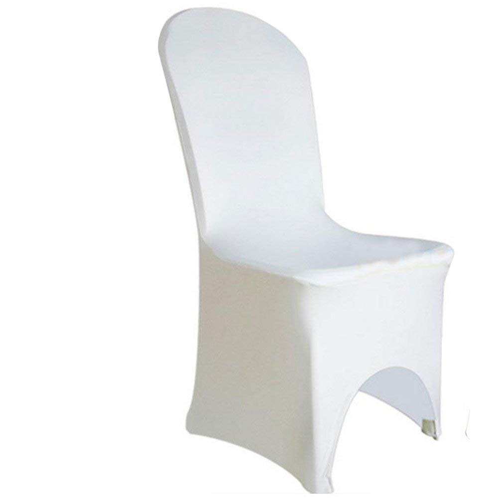 Cu ALightUp 50 Pcs Polyester Spandex Chair Covers w/ 4 Elasticated & Rugged Pockets Universal Wedding Banquet Anniversary Party Home Decoration